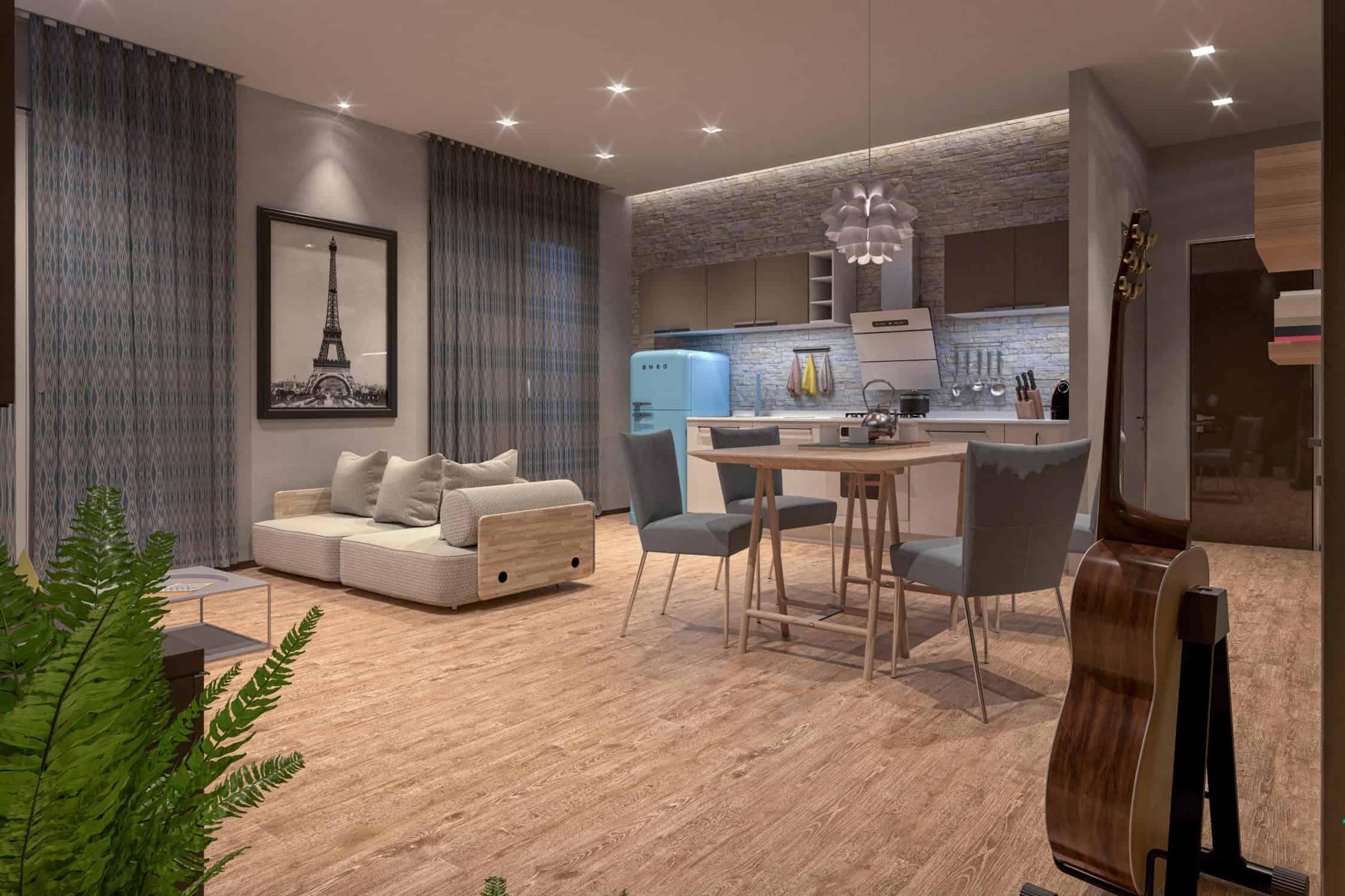 render - design - architettura interni - soggiorno cucina