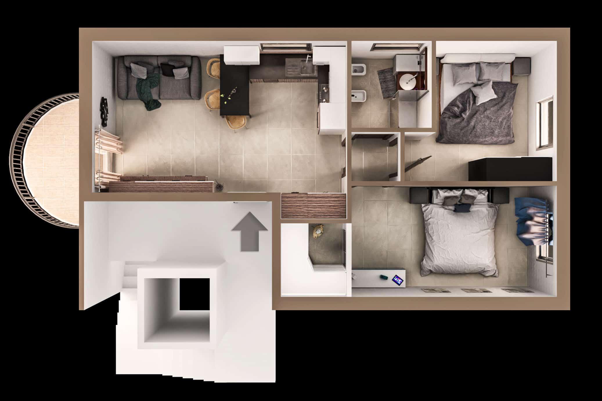 render - design - pianta 3d - architettura